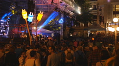 Crowd watches show at Le Festival d'ete in Quebec City, Canada. Stock Footage