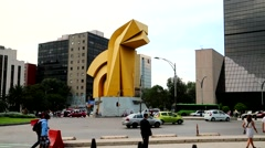 Mexico City Downtown, Sculpture El Caballito. Stock Footage