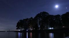 Camping By Lake at Night Stock Footage