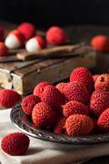 Raw Organic Red Lychee Berries Stock Photos