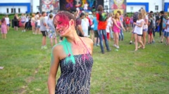 free festival of colors - stock footage
