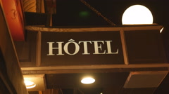 Hotel sign in Ville de Quebec, Quebec, Canada. Stock Footage