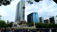 Mexico City Downtown,  Angel of Independence. Stock Footage