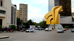 Mexico City Downtown, El Caballito Sculpture. Stock Footage