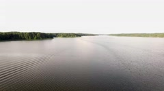 Flying above Jordan Lake in Apex, NC late in the day in the summer  Stock Footage