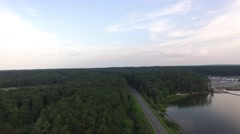 Flying above Farrington Road in Apex near Lake Jordan. Stock Footage
