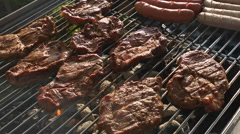 Pork meat and sausages on barbecue grill Stock Footage