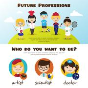 Vector banners of cute cartoon kids in different professions. Children future Piirros
