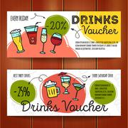 Vector set of discount coupons for beverages. Colorful doodle alcohol drinks  Piirros