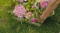 Flowers in a boxes for decor Stock Footage