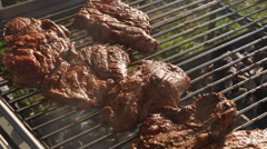 Rotate pork on a barbecue grill Stock Footage