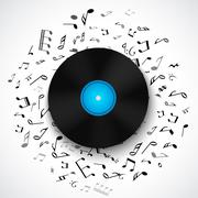 Abstract musical frame and border with black notes on white background Stock Illustration