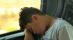 Young passenger on bus sleeping 2 Stock Footage