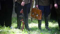 Reconstruction of costumes of the second world war Stock Footage