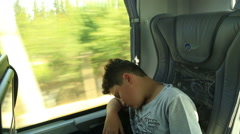 Young passenger on bus sleeping Stock Footage