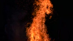 Large flame of fire in the dark Stock Footage