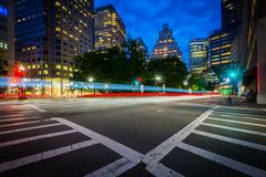 An intersection and crosswalks in the Financial District at night, in Boston, Stock Photos