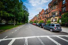 Commonwealth Avenue, in Back Bay, Boston, Massachusetts. Stock Photos