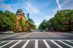 Crosswalks and intersection in Back Bay, Boston, Massachusetts. Stock Photos