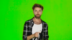 Man from something deviates in VR mask. Green screen Stock Footage