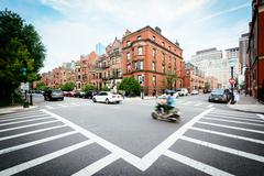 The intersection of Commonwealth Street and Fairfield Street, in Back Bay, Bo Stock Photos