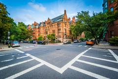 The intersection of Marlborough Street and Exeter Street, in Back Bay, Boston Stock Photos