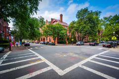 The intersection of Marlborough Street and Fairfield Street, in Back Bay, Bos Stock Photos