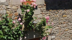 Doors of the old house with flowers. City Rupit Catalonia - stock footage