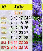 Calendar for July 2017 with image of clematis Stock Illustration