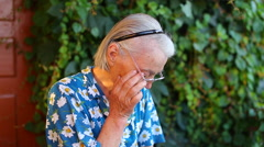 Cry Elderly older woman tears Stock Footage