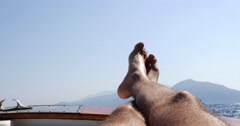 Feet on Boat Travel in Capri Island, Italy Stock Footage
