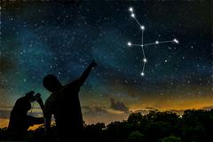Cygnus or Swan constellation on night sky. Astrology concept. Silhouettes of  Stock Photos