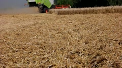 Harvester treshing wheat slow motion Stock Footage