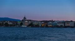 Geneva lakeside day to night time lapse Stock Footage