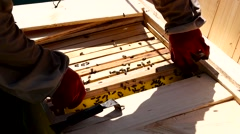 Bee-keeper gets honey frame from evidence - stock footage