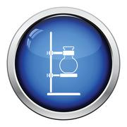 Icon of chemistry flask griped in stand Stock Illustration