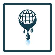 Planet with flowing down water icon Stock Illustration