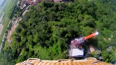 Flying over Langhe Region Piedmont with hot air balloon Stock Footage