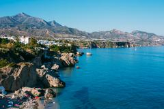 Resort Town Of Nerja In Spain. View From Balcon De Europa Stock Photos