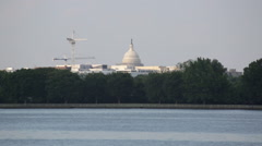 View of the Capitol Building in Washington DC from the water Stock Footage