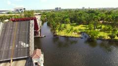 AERIAL - Bridge Miami River Stock Footage
