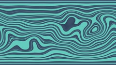 Beautiful hypnotic Curly waves and lines loopable pattern. Blue green version. Stock Footage