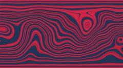 Beautiful abstract curly waves and lines loopable pattern. Red and blue version. Stock Footage