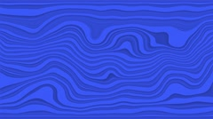 Beautiful hypnotic abstract curly waves and lines loopable pattern. Vivid blue Stock Footage