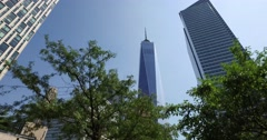 Looking Up at the Freedom Tower from Hudson River Greenway  	 Stock Footage