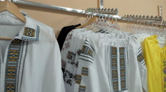 A neat store display of fashionable blouses Stock Footage