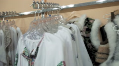 A neat store display of fashionable blouses - stock footage