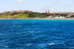 Port of Mgarr on the small island of Gozo, Malta. Place for text. Stock Photos