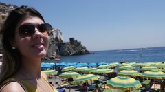 Woman at Amalfi Beach, Italy (in Slow Motion) Stock Footage