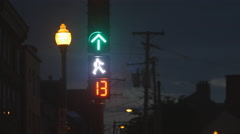 Traffic signal with pedestrian hand. Ville de Quebec, Quebec, Canada. Stock Footage